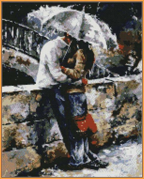 Алмазная вышивка  40×50 см. Прогулки под дождем Художник Эмерико Имре Тот (ST-314)