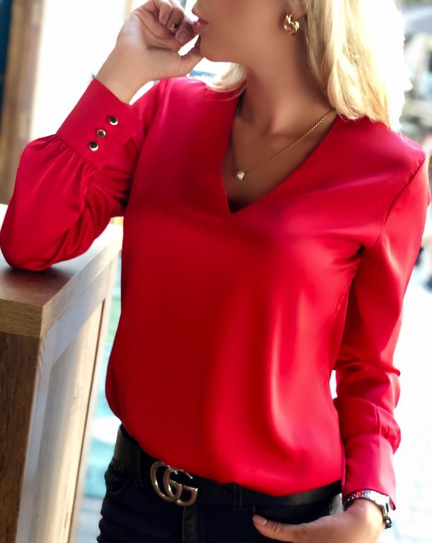 """Шелковая женская блуза """"Norma"""" с длинным рукавом (5 цветов)"""