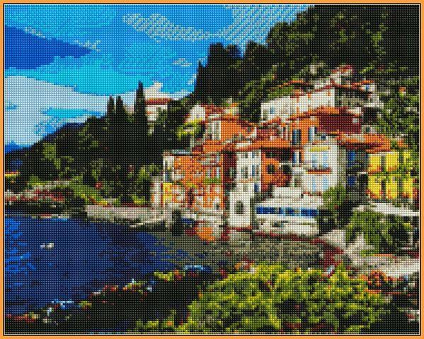 Алмазная вышивка  40×50 см. Озеро Комо в регионе Ломбардия на севере Италии (ST-1086)
