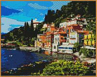 Алмазная вышивка  40×50 см. Озеро Комо в регионе Ломбардия на севере Италии (ST-1086), фото 1
