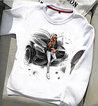 Женский белый свитшот с рисунками и надписью (в разновидностях), фото 9