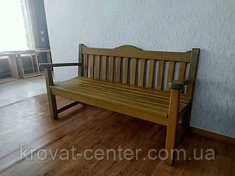 Деревянная скамейка со спинкой из массива дерева сосна от производителя, фото 2