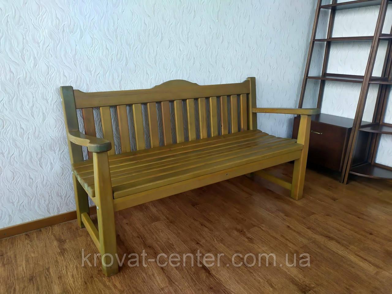 Деревянная скамейка со спинкой из массива дерева сосна от производителя