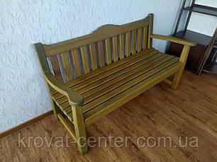 Деревянная скамейка со спинкой из массива дерева сосна от производителя, фото 3