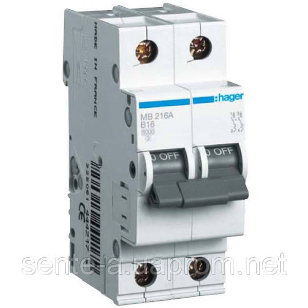 Автоматический выключатель 2 пол. 16А тип В 6КА МВ216А HAGER