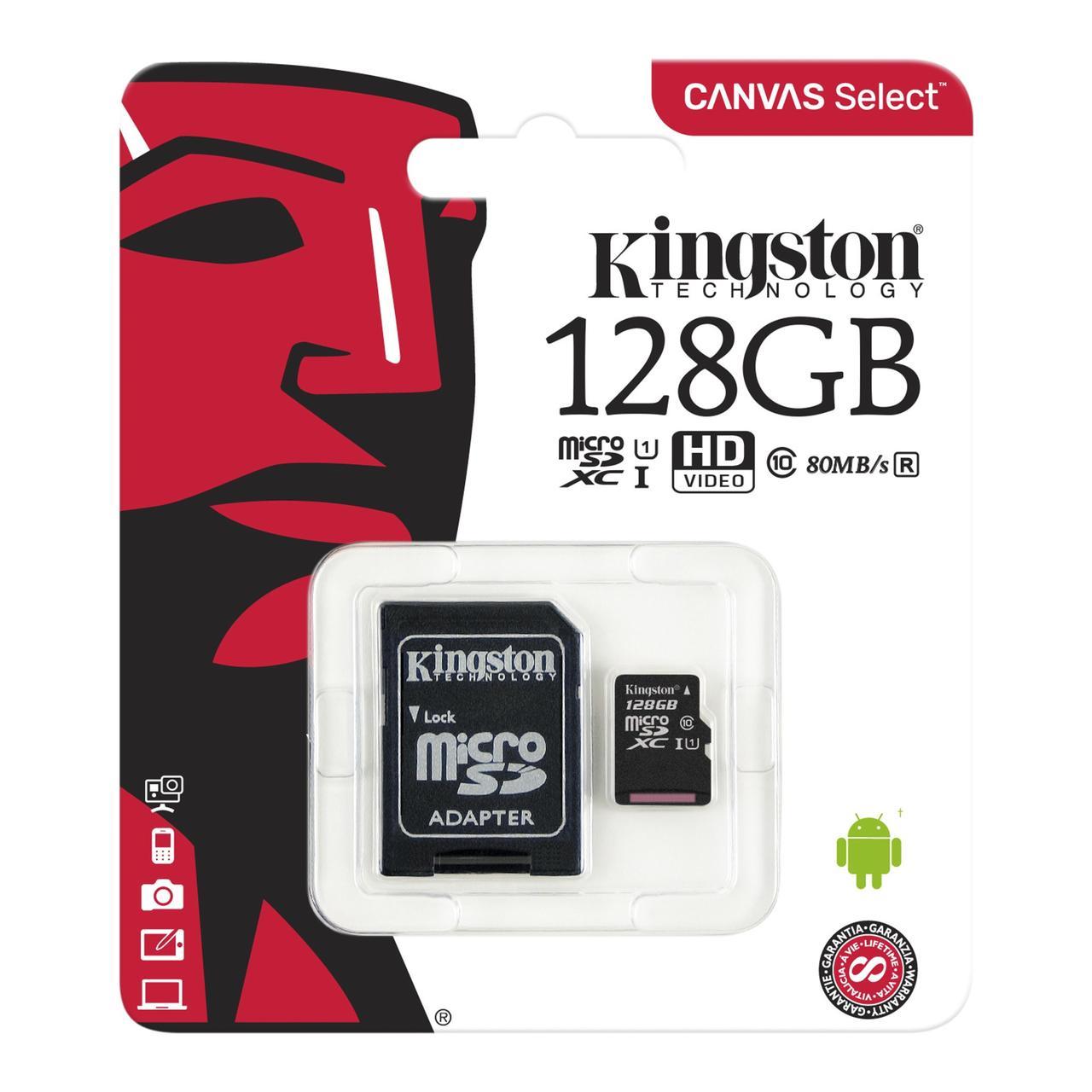 Карта памяти Kingston microSDXC 128GB Canvas Select Class 10 UHS-I U1 + SD адаптер