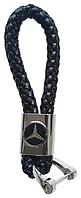 Брелок с логотипом MERCEDES, плетеный брелок с логотипом мерседес + карабин/черный