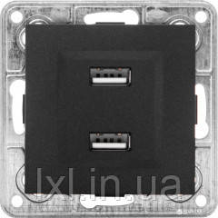 Розетка USB подвійна. 2*1A, 5V, DC графітовий металік TESLA