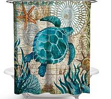 Занавеска-шторка в душ «Морская черепаха» 170×180 см