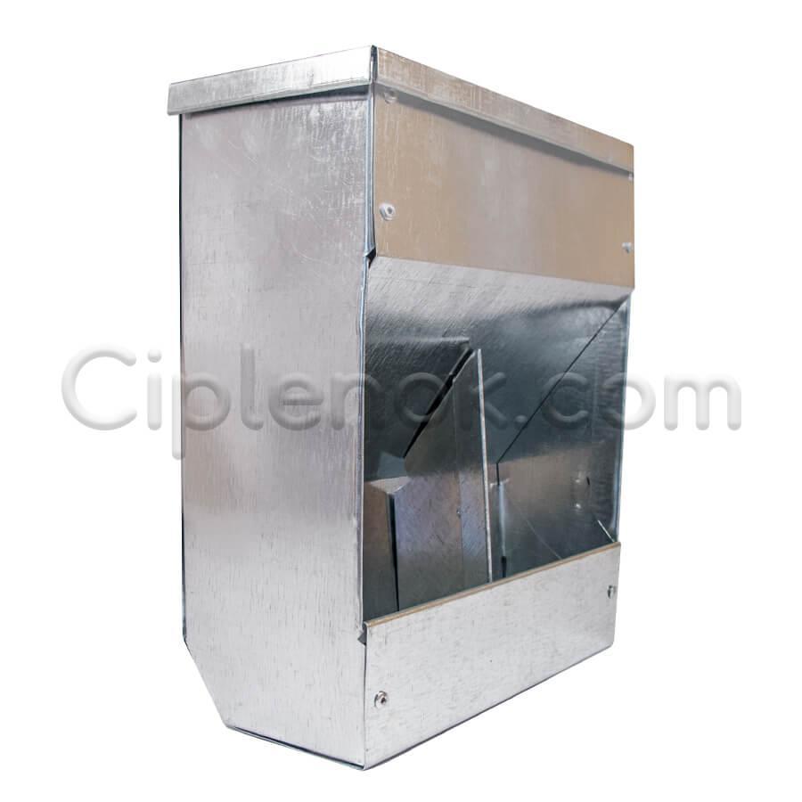 Бункерная кормушка для кроликов 2 отд. с крышкой метал.