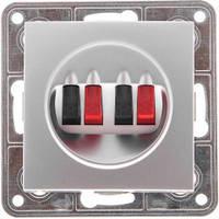 Аудиорозетка стерео серебрянный металлик TESLA