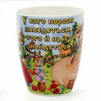 """Чашка  """"У кого порося заведеться , у того й щастя знайдеться"""" в упаковке., фото 1"""