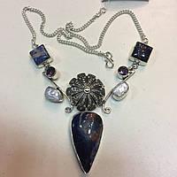 Красивое колье содалит жемчуг аметист ожерелье с содалитом жемчугом и аметистом в серебре Индия, фото 1