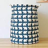 Корзина для игрушек, белья, хранения на завязках Белые медведи Berni