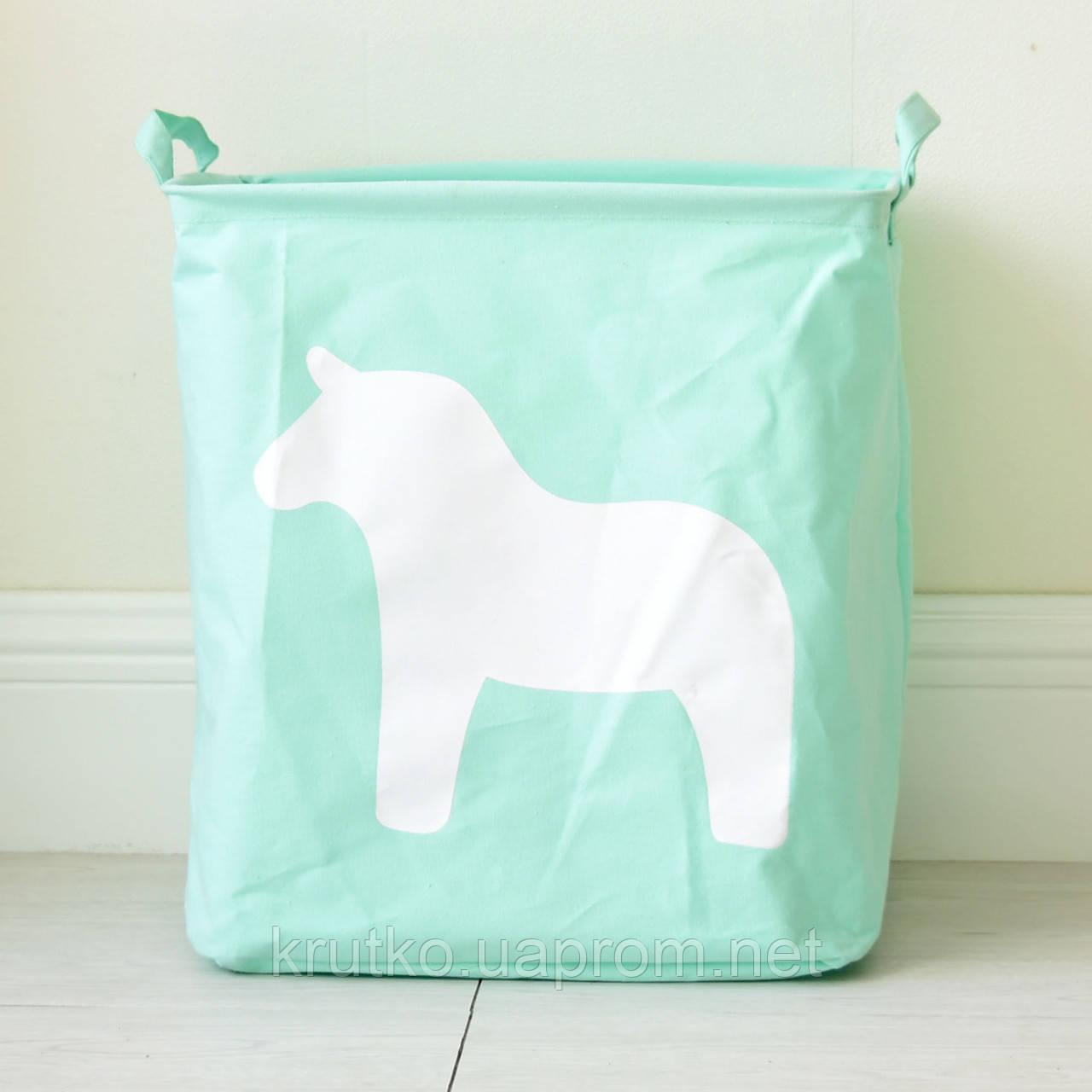Корзина для игрушек, белья, хранения Лошадь, зеленый Berni