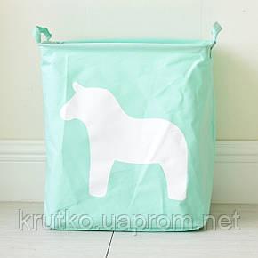 Корзина для игрушек, белья, хранения Лошадь, зеленый Berni, фото 2