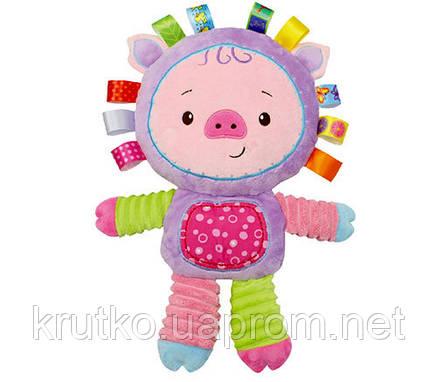 Мягкая игрушка - погремушка Поросенок Happy Monkey, фото 2