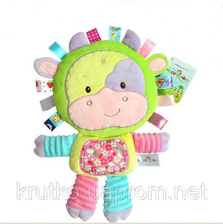 Мягкая игрушка - погремушка Коровка Happy Monkey, фото 2