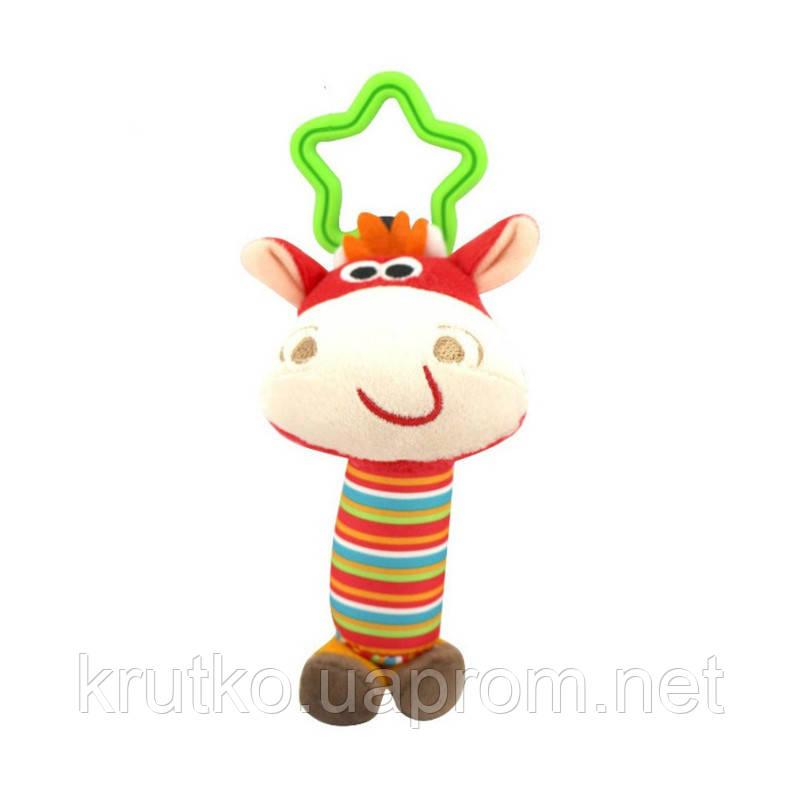 Мягкая подвеска - погремушка Коровка Happy Monkey