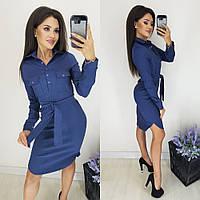 Платье женское с поясом не приталенное 3015 [M(44-46), L(46-48), XL(48-50)] (цвет джинс) СП