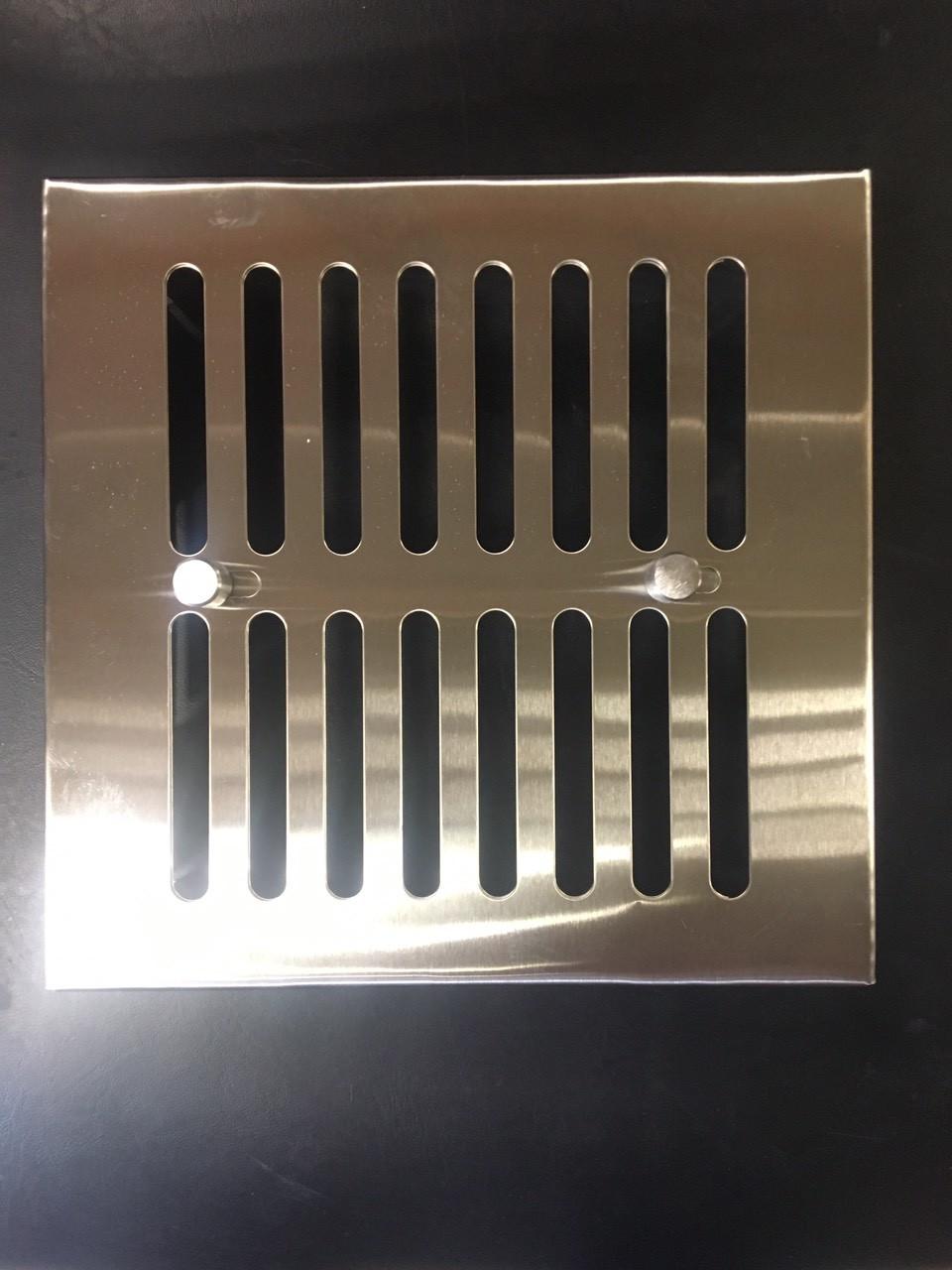 Вентиляционная решетка с задвижкой  для сауны , бани 170 * 170 (нерж.)