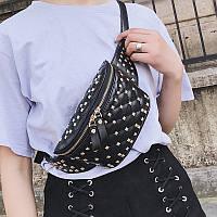 Женская стеганая сумка на пояс в стиле Валентино черная, фото 1