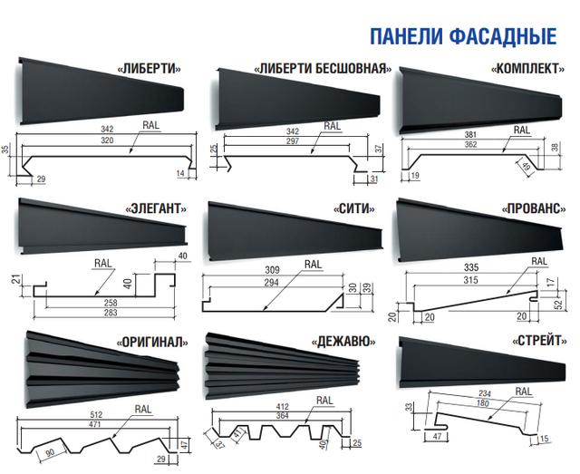 Ассортимент фасадных панелей Термастил