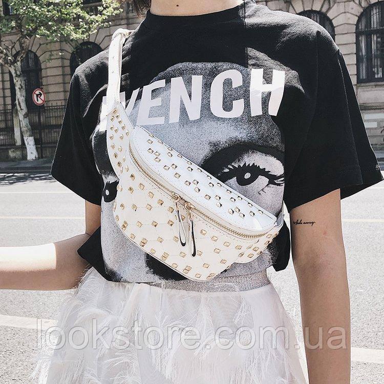 Женская стеганая сумка на пояс в стиле Валентино белая, фото 1