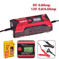 Зарядное устройство VOIN 6-12V, 0.8-4.0A, 3-120AHR,  LCD, импульсное, VL-144, фото 1