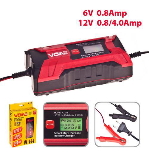 Зарядное устройство VOIN 6-12V, 0.8-4.0A, 3-120AHR,  LCD, импульсное, VL-144