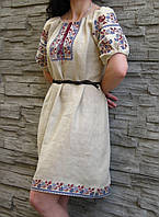 """Сукня жіноча з невибіленого 100% льону """"ПАВА"""", фото 1"""