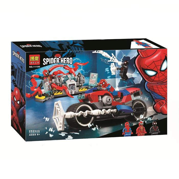 """Конструктор Bela 11186 Super Heroes """"Человек-паук: Спасательная операция на мотоцикле"""", 252 дет."""