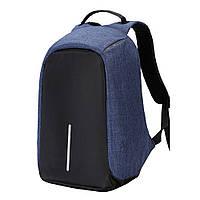 Рюкзак городской качественный антивор Bobby с USB, цвет черно-синий
