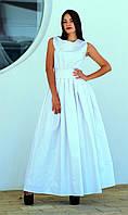 Элегантное льняное платье в пол под пояс