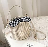 Женская летняя сумка ведро молочная, фото 1