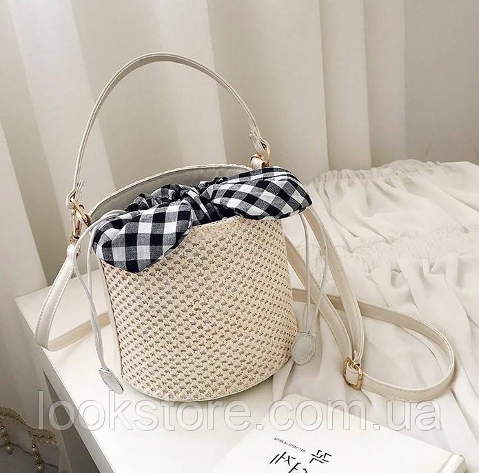 Женская летняя сумка ведро молочная