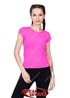 Спортивная футболка женская RSF 50, розовая (бифлекс, р-р S-XL)