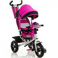 Детский трехколесный велосипед Crosser One с надувными колесами розовый, фото 1