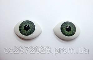 """Глазки """"живые""""для кукол , пластиковые,рыбки,зеленые,11х16 мм"""