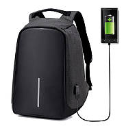 Рюкзак городской качественный антивор Bobby с USB, цвет черный + темно-серый, фото 1