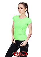 Спортивная футболка женская RSF 50, салатовая (бифлекс, р-р S-XL)