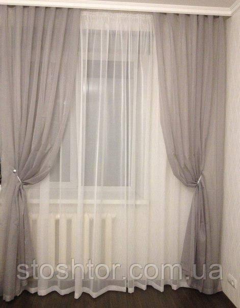 Комплект тюли и штор из шифона №2
