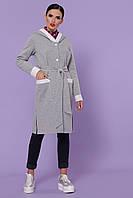 Женский серый кардиган с капюшоном
