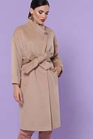 Бежевое женское пальто оверсайз