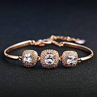 Люксовый женский браслет с кристаллами в золотом цвете