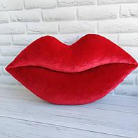 Интерьерная подушка. Бархатные губы, размер 60*40 см
