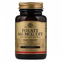 Препарат для правильного функционирования иммунной и кровеносной систем Solgar Folate 666 мкг DFE Metafolin 400 мкг (100 таблеток)