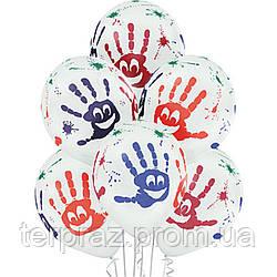 """Латексные шары круглые с рисунком  шелкография паст 14"""" ладошки улыбка 5цв"""