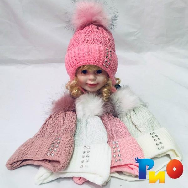 Детская вязанная шапочка на флисе, для девочек р-р 36-38 (5 ед в уп) NA_616288