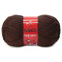 Пряжа Nako Nakolen 1182 коричневый (нитки для вязания Нако Наколен) полушерсть 49% шерсть, 51% акрил